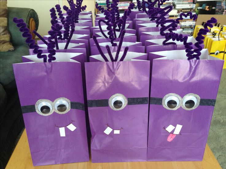 Monster minion party bags made for O's 5th birthday.