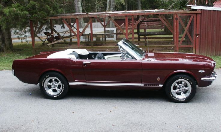 1966 Ford Mustang GT convertible with polished American Racing Torq Thrust II wheels. Love the color of this car!