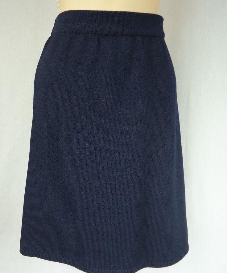 ST JOHN SPORTSWEAR By Marie Gray Skirt Size 14  Dark Blue Knit Wear To Work #StJohn #StretchKnit