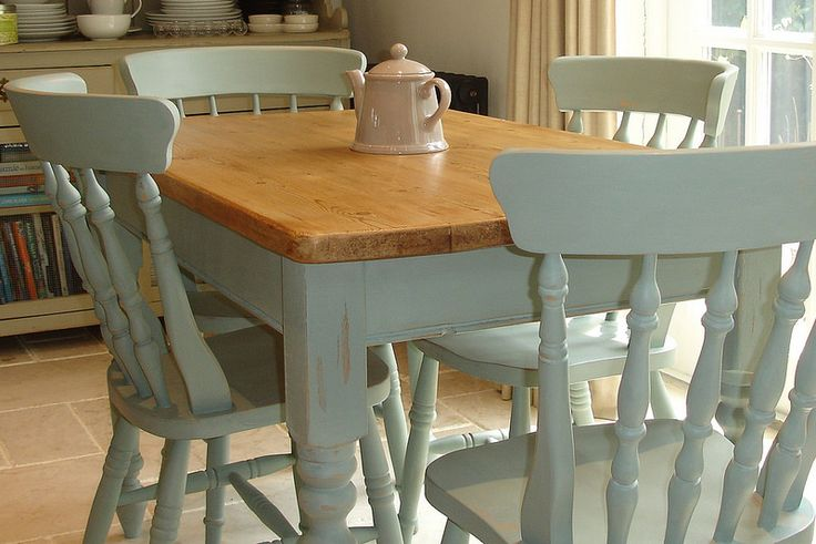 Pine table and chairs in Annie Sloan's Duck Egg Blue