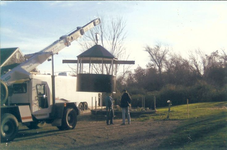 Moving the Turret House to its new location over its brand new foundation at Atwood House, November 2003 during the restoration project. #atwoodhouse, #turret, #lighthouse, #chatham, #capecod, #chathamhistoricalsociety