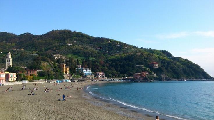 Sea and beach in Levanto.
