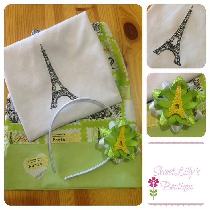 Handmade by Sweet Lilly's Bootique Gorgeous basic Boo! skirt size 3 with a embroidered Eiffel tower shirt. Included is a Eiffel tower headband with removable bow to attach to a hair clip.