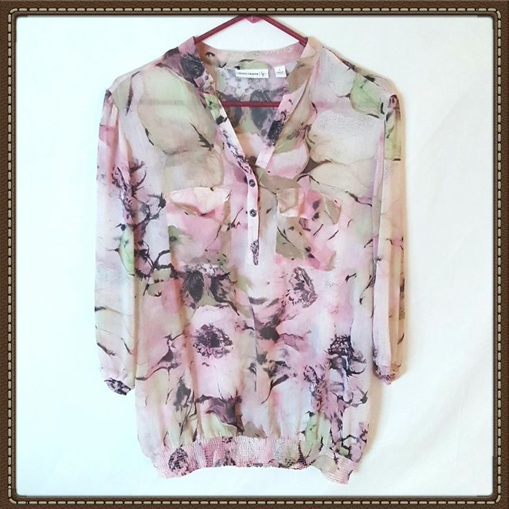 """Susan Graver (QVC). Pair this flowing blouse with a pair of jeans or a pencil skirt. Mandarin Y Collar, elastic cuffs, and 3/4 sleeves. Pre-owned, but in like new condition!    Chest 44""""    Length 29"""" 