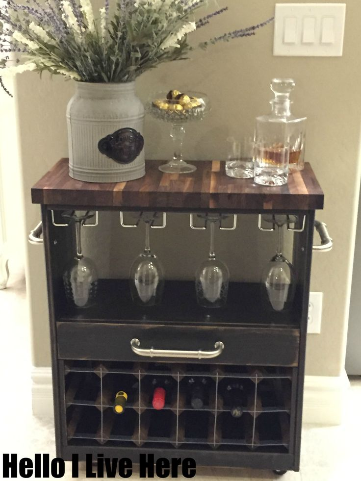 IKEA RAST Dresser Hack becomes an incredible wine cart - truly amazing completed by Hello I Live Here and sponsored by PPG and Hickory Hardware.