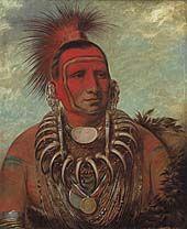 Shon-ta-yi-ga, Little Wolf, a Famous Warrior, 1844  Iowa by George Catlin  oil