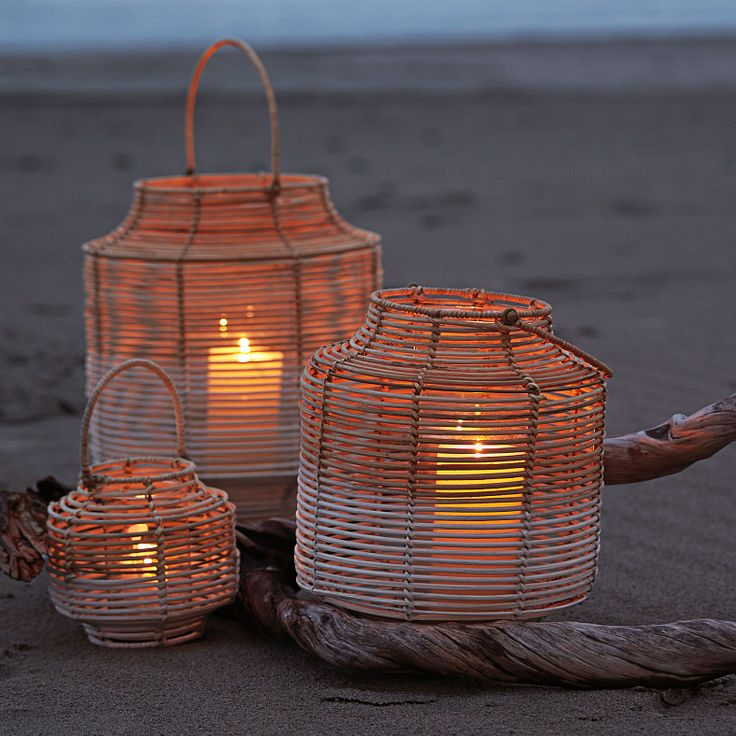 Two-Toned Rattan Lanterns – Small | Serena  Lily