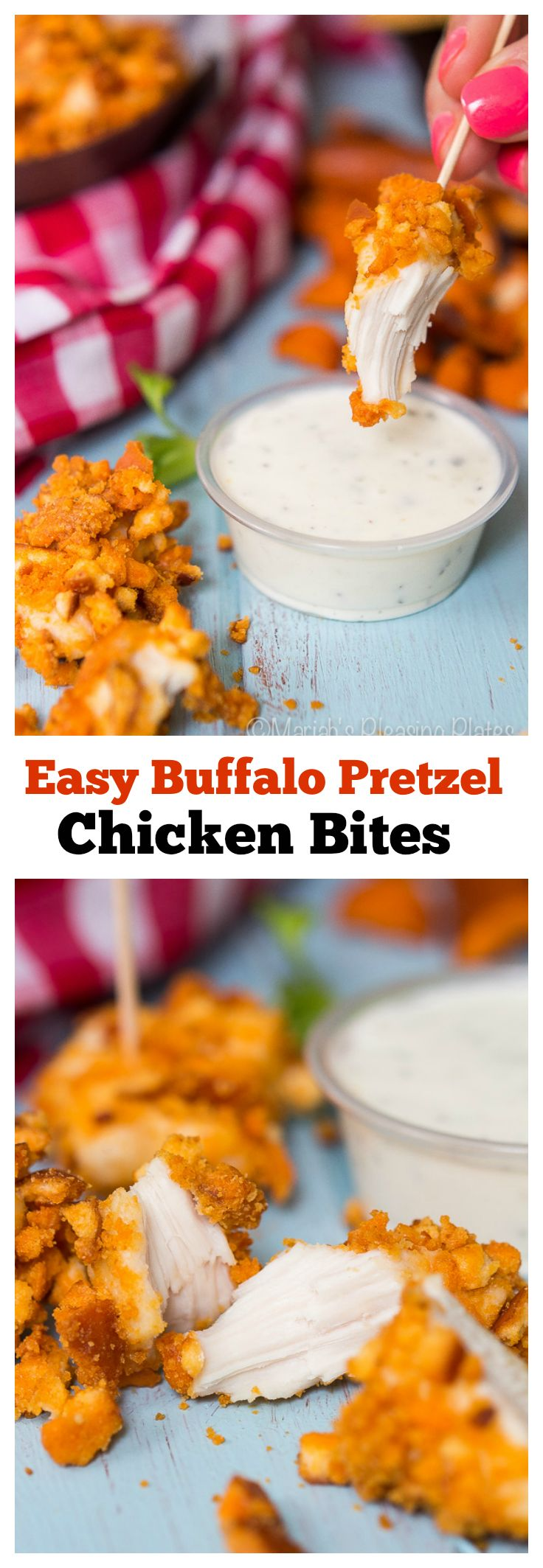 These Buffalo Pretzel Chicken Bites are the perfect snack and are great for on the go entertaining! Made with sourdough buffalo pretzel bites and all white chicken breast, these little nuggets are perfect for dipping, dunking or sharing! #ad #summertogo