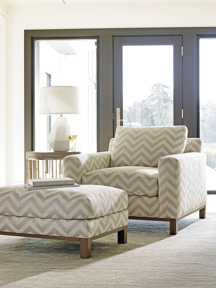 oversized chair and ottoman with zigzag geometric pattern lexington furniture lhbdesign