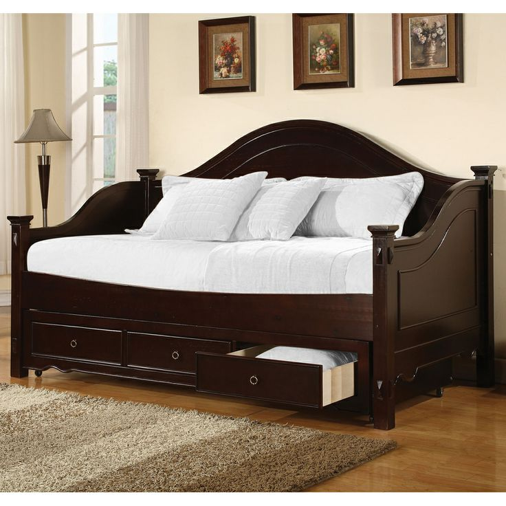 Owen wood daybed with drawers by acme furniture wooden - Bedroom sets with drawers under bed ...