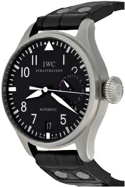 Wingates Quality Watches: For Sale, one Pre Owned Mens IWC Big Pilot Automatic Winding with Date Wrist Watch with Black Dial with luminous Arabic numerals