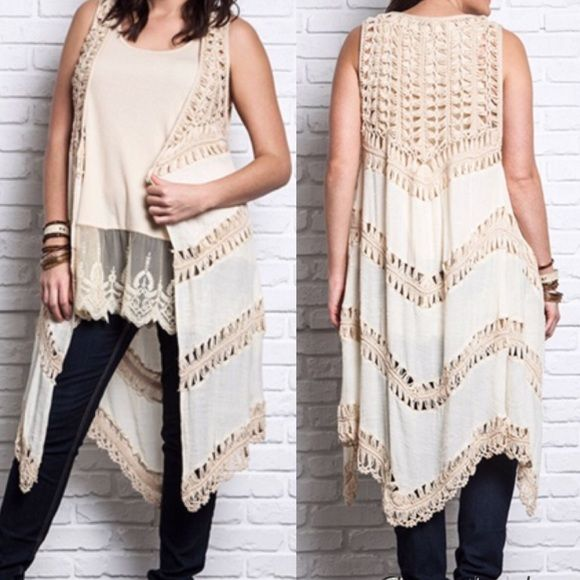 Plus size bohemian hippie chic vest / duster 1X Amazing hippie chic vest / duster in cream is the perfect add to any wardrobe. I have Xl, 1X & 2x avail. This listing is for the 1X Tops