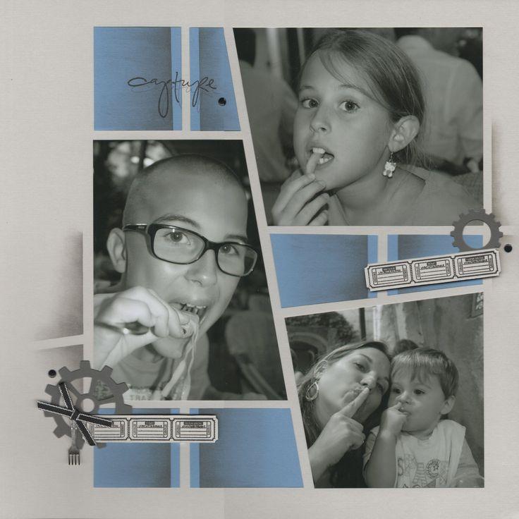 Quelques photos de nous en noir et blanc, pour cette page réalisée avec le duo gabarit Bahamas. Pour la déco j'utilise à fond mes nouveaux tampons :) Bonne journée