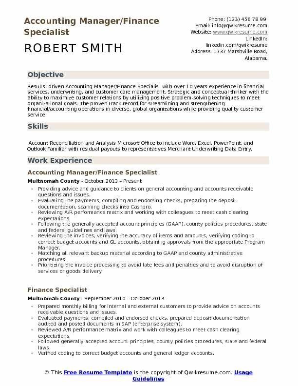 Finance Specialist Resume Samples Qwikresume In 2020 Resume Examples Resume Finance