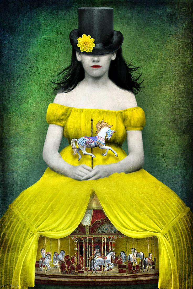 Hildegard's yellow dress made quite a hit with the circus crowd. - Beth Conklin illustration
