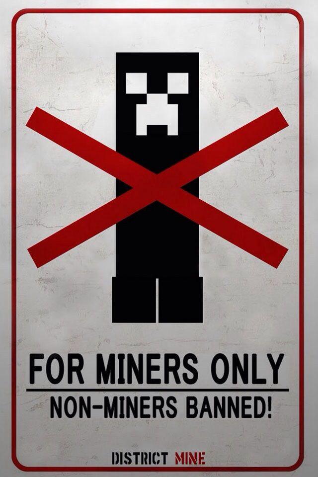 Minecraft Miners Only Door Sign