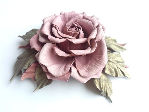 Leather brooch rose decoration for women by DreamsAboutSummer