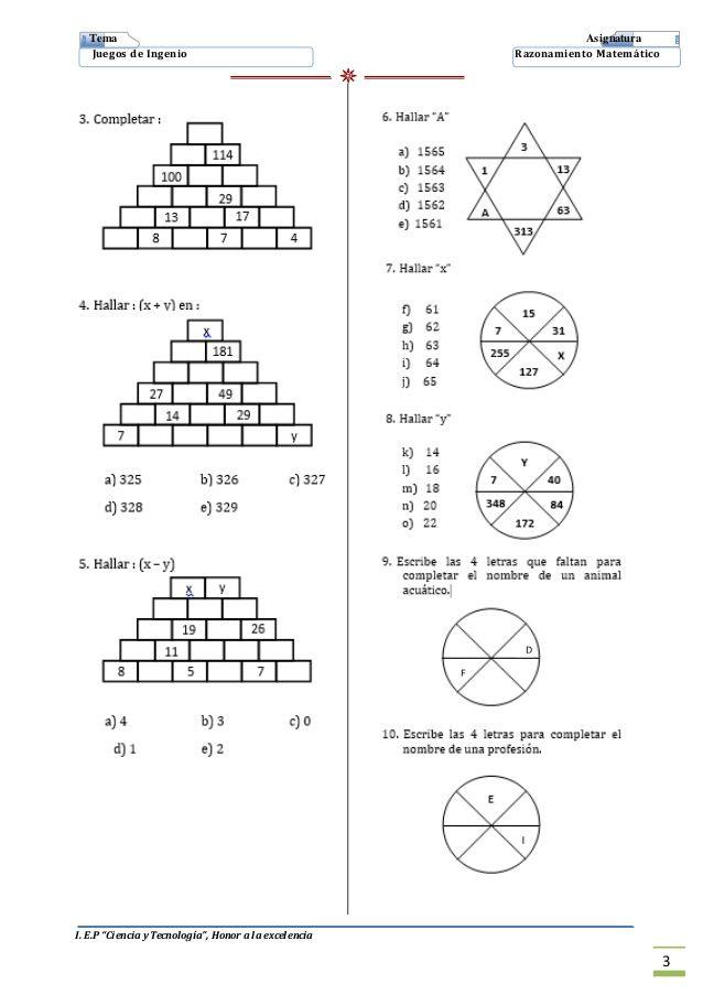 2 Juegos De Ingenio Imprimir Juegos De Secundaria Juegos De Logica Matematica Juegos De Ingenio