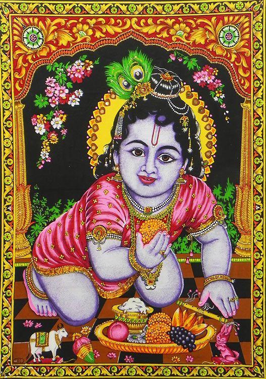 Bal Gopal Krishna (Print on Cloth with Sequin Work - Unframed)