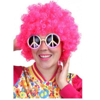 Pruik krullen hippy feest pink roze