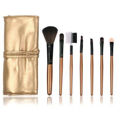 7 Pcs Fiber Facial Makeup Brushes Kit - GOLDEN
