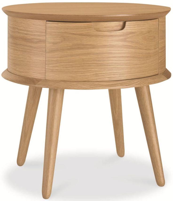 Best Bentley Designs Orbit Oak Bedside Table 1 Drawer 640 x 480