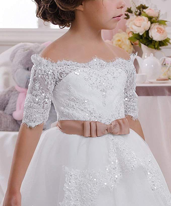 Girl Pageant Wedding 1st Communion flower girl Formal dress size 2 to 12 White