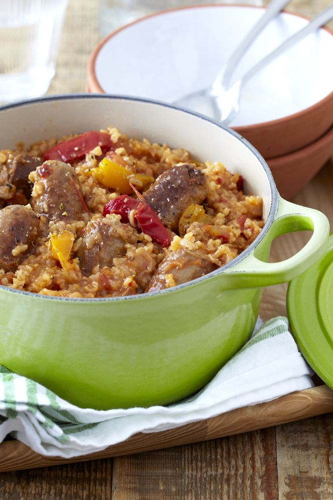 Rustic Sausage Hotpot made with a variety of peppers, rice, and a #Knorr Chicken Stock Pot