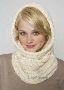 теплый вязаный шарф труба спицами для начинающих вязальщиц