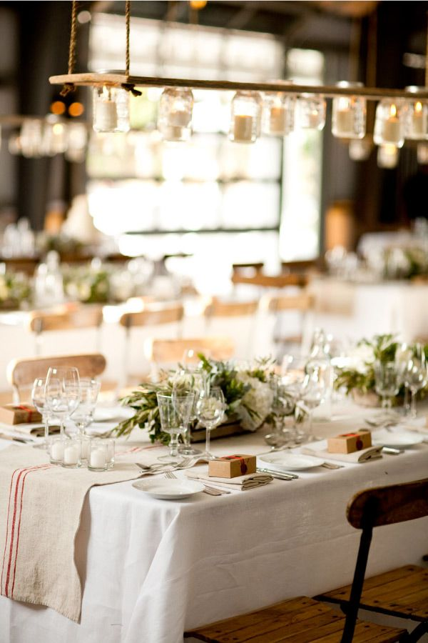 tablescape with mason jar lighting and table runner