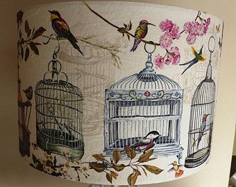 Vintage Birdcage Lampshade Birds script shabby chic french  Fatta da Mamma