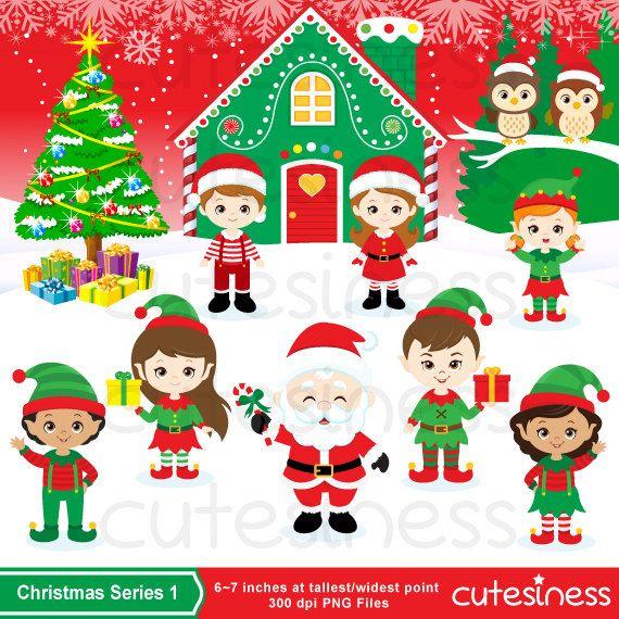 Christmas Elf Digital Clipart Christmas Elve Clipart от Cutesiness