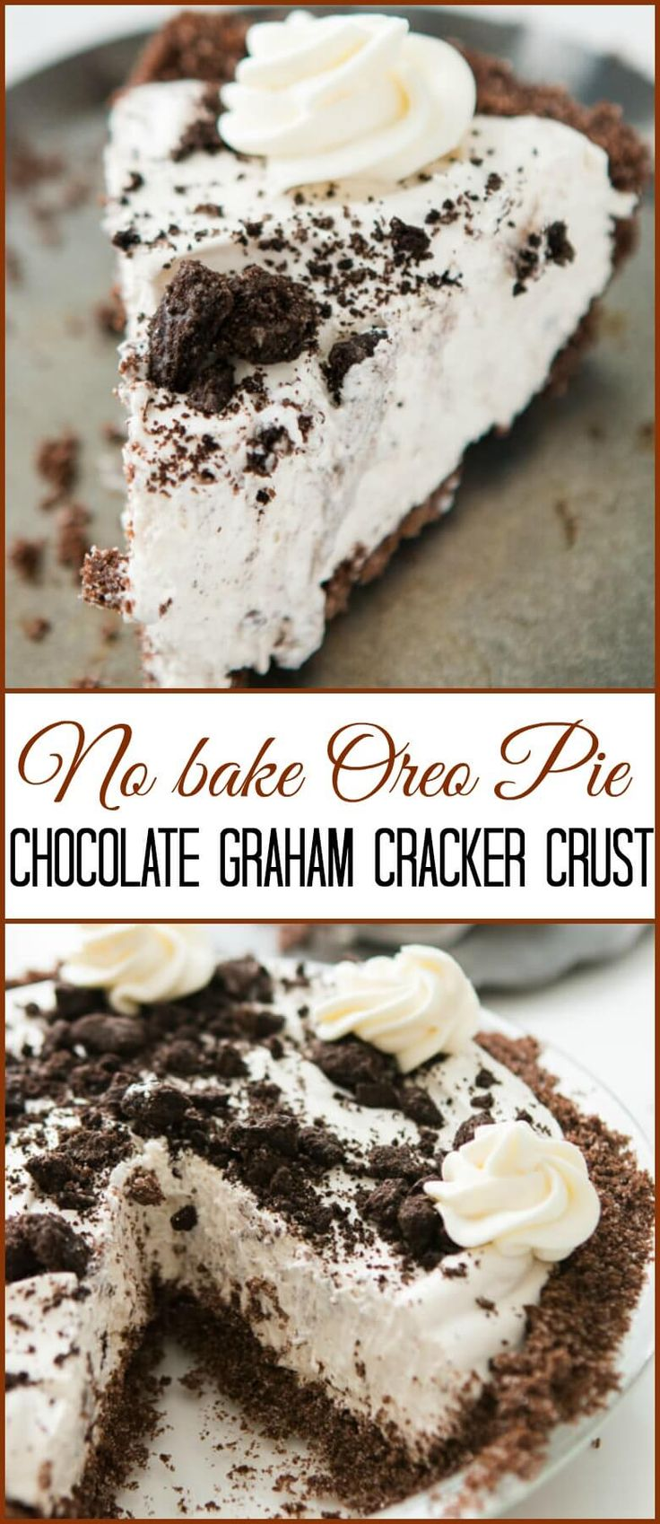 This is one of our most popular pie recipes and it's an easy pie recipe! Who wants a slice of no bake oreo pie with chocolate graham cracker crust?!