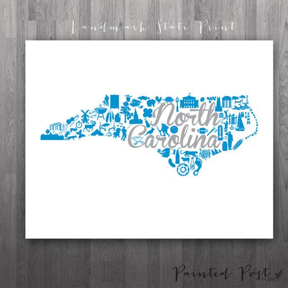 Charlotte North Carolina Landmark State Giclée by PaintedPost, $15.00 #paintedpoststudio - Charlotte Panthers - NFL- What a great and memorable gift for graduation, sorority, hostess, and best friend gifts! Also perfect for dorm decor! :)
