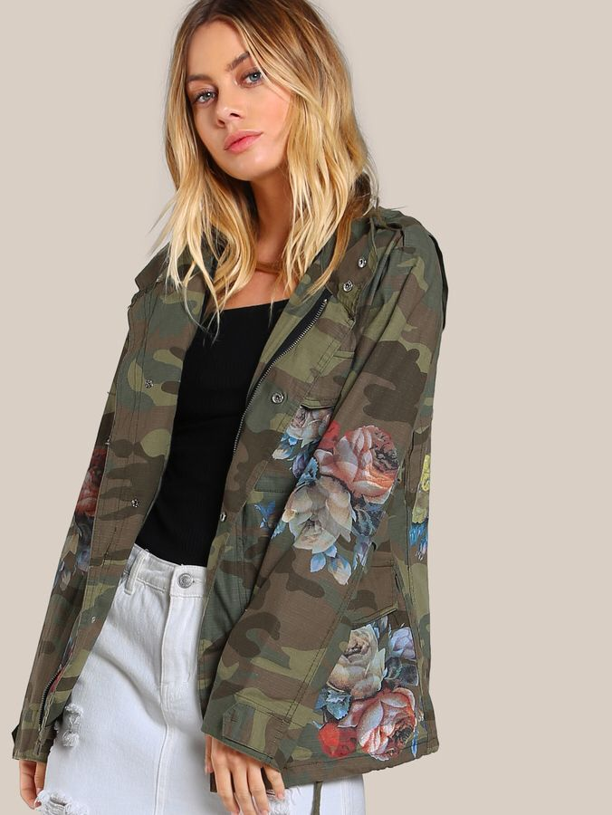 Flower Painted Camo Jacket OLIVE  #outfits #jacket #style #fall #winter #affiliate