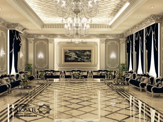 مجلس رجال نيوكلاسيك فخم باللون الفضي والكنب الاسود تم استخدام نجف كرستال ذو اضاءه عاليه لت Home Building Design Luxury Mansions Interior Luxury Ceiling Design
