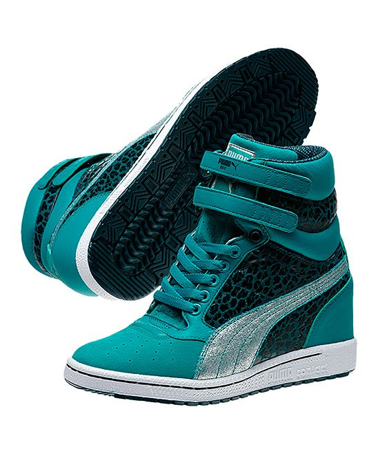 Take a look at this Blue Grass & Deep Teal Sky Metallic Wedge Sneaker by PUMA  on today!