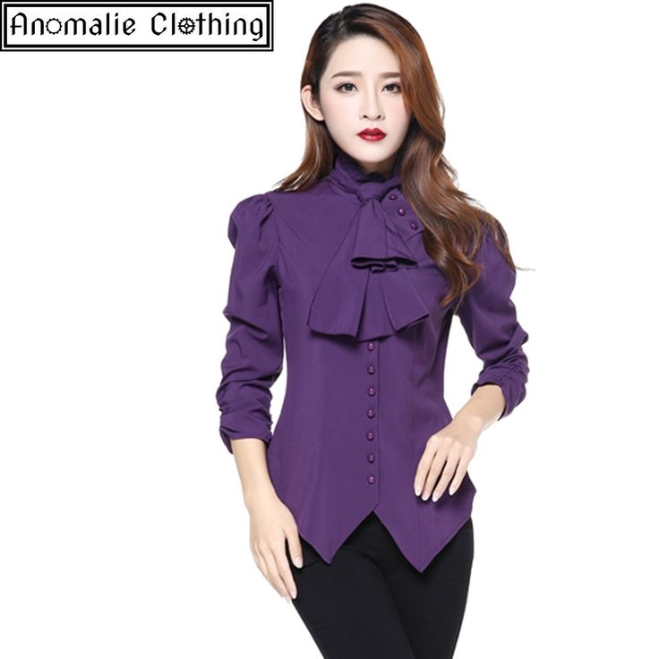 Chic Star - Steampunk Blouse With Ruched Sleeves In Purple