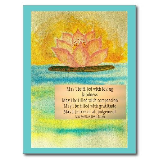 Gratitude Buddha Quotes: Meditation Card/ Buddhist Metta Prayer Postcard