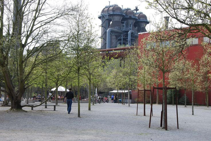 Open air café at Landschaftspark, Duisburg-Nord, Germany.