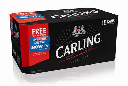 SKY SPORTS - Molson Coors is offering free Now TV Sky Sports Day Passes inside selected packs of Carling in the run-up to Christmas. Every mid-pack of Carling will contain a Unique Ref Number which will allow consumers to access a Day Pass worth £9.99. The promotion will be available across the off-trade from October, with over 3.5 million packs of Carling containing a free Now TV Sky Sports Day Pass, making it Carling's biggest ever promotion.