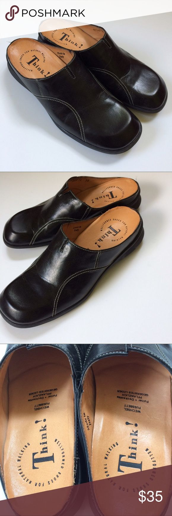 Think! Black Leather Mules Clogs Think! Black Leather Mules Clogs with white stitchings in excellent condition Think! Shoes Mules & Clogs