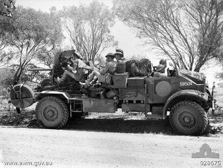 Australian truck-mounted Ordnance QF 2 pounder gun on exercise in Geraldton, Australia, Oct 1942