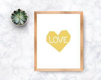 Love Digital Art Print, Instant Digital Download, Printable Art, Wall Art Print, Modern Print, Yellow Heart Print, Inspirational Art