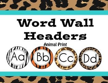 Animal print (tiger, zebra, giraffe and cheetah) word wall headers for a zoo, safari or jungle themed classroom. $