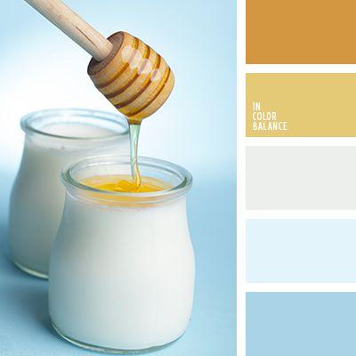 Aquí vemos una combinación fría de colores amarillo miel, blanco y celeste. Sus tonos calmantes pueden ser usados para decorar fachadas de casas, cocinas y salones-comedores.