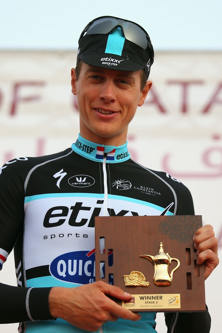 Stage winner and new race leader #NikiTerpstra #EtixxQuickStep on the podium after winning #Stage3 of the 2015 #TourofQatar