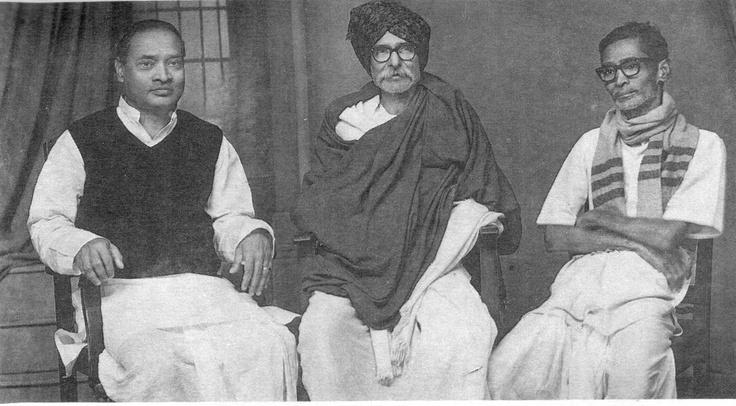 A very rare photo of three close friends, Sri P V Narasimha Rao, Sri Kaloji Narayana Rao and Sri P Sadasiva Rao.  Ravi Varma Photo Studio, Warangal, in 1975.