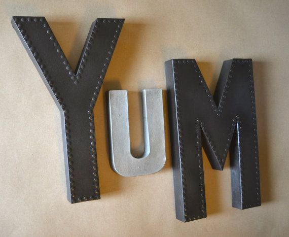 Large YUM Yum Wall Art Yum Sign Kitchen Sign by EllaMurphyDesigns