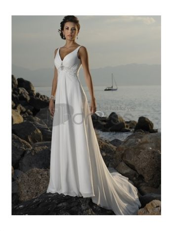 Abiti da Sposa Spiaggia-Impero vita scollo a v abiti da sposa spiaggia in chiffon treno
